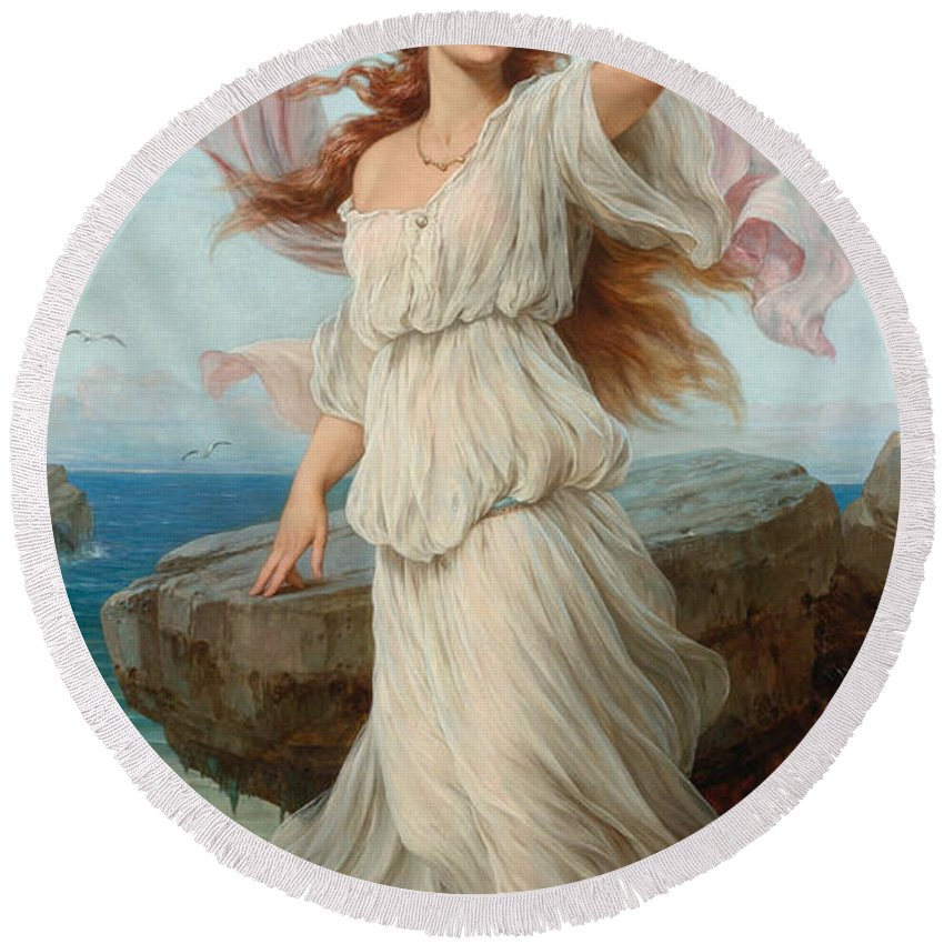 Thomas Francis Dicksee Round Beach Towel featuring the painting Miranda by Thomas Francis Dicksee