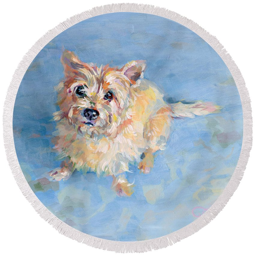 Cairn Terrier Round Beach Towel featuring the painting Miri's Memory by Kimberly Santini