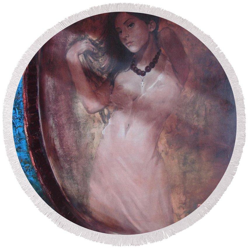 Ignatenko Round Beach Towel featuring the painting Mirror for the sun by Sergey Ignatenko