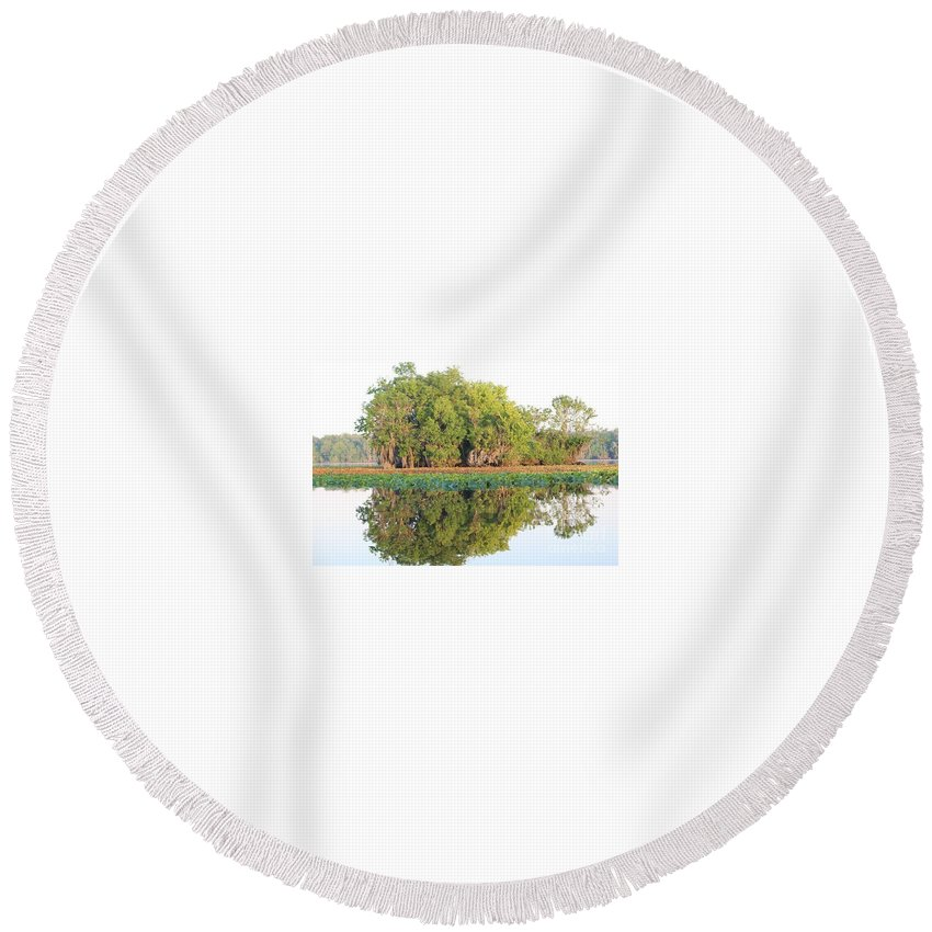 Nature Round Beach Towel featuring the photograph Mirror Image by Geoffrey Shaffer