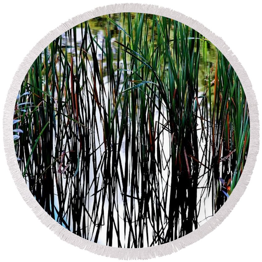 Cattails Round Beach Towel featuring the photograph Mirror Image by Stacie Gary