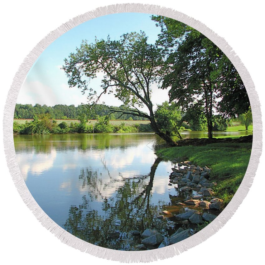Landscape Round Beach Towel featuring the photograph Mirror Image by Todd Blanchard