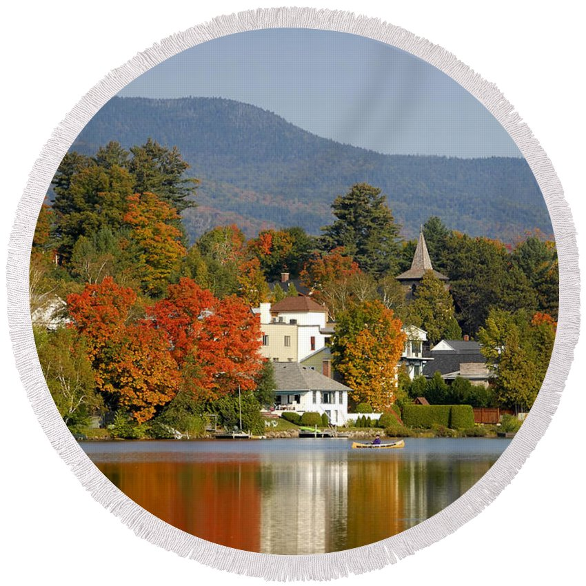 Adirondack Mountains Round Beach Towel featuring the photograph Mirror Lake by David Lee Thompson