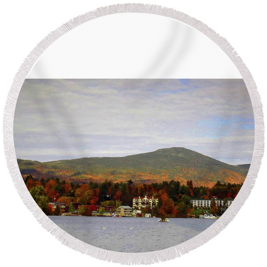 Mirror Lake . 10 / 17 Round Beach Towel featuring the photograph Mirror Lake by Joseph F Safin