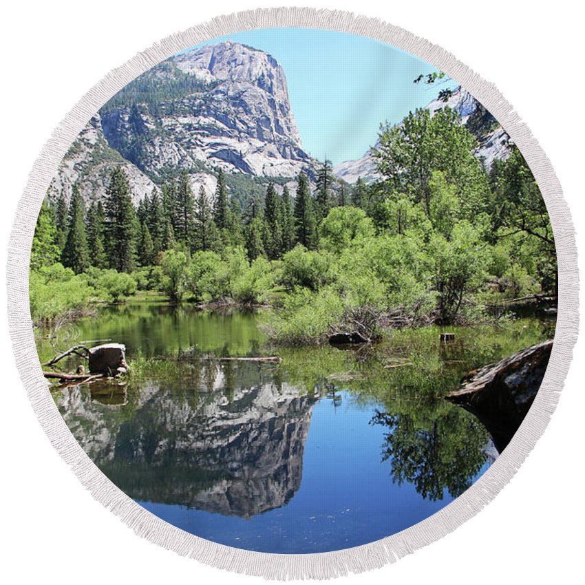 Yosemite Round Beach Towel featuring the photograph Mirror Lake by Sierra Vance