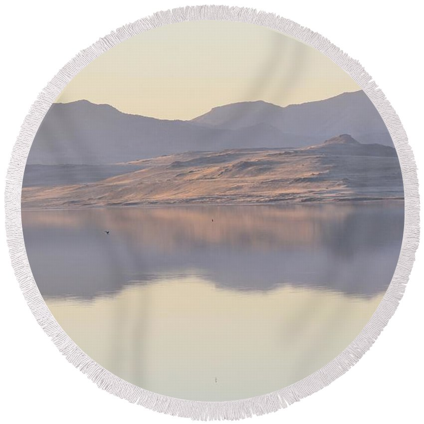 Nature Round Beach Towel featuring the photograph Mirror On The Great Salt Lake 2 by Tonya Hance