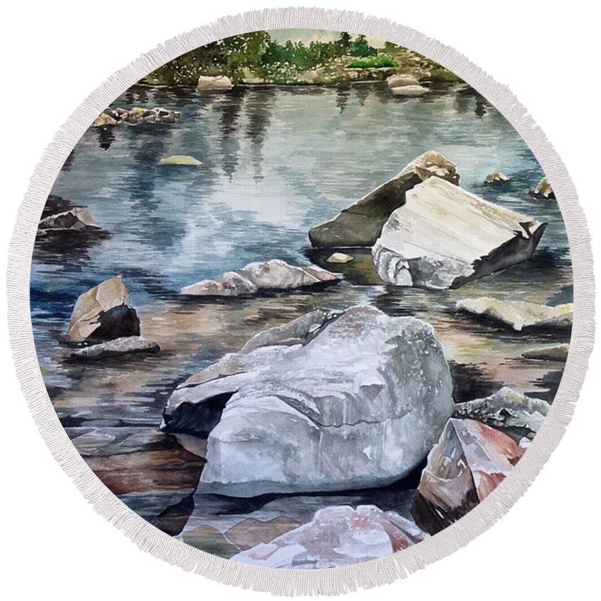 Mirror Pond Round Beach Towel featuring the painting Mirror Pond by Lance Wurst