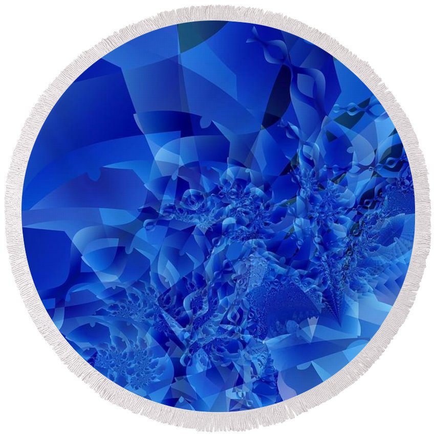 Fractal Art Round Beach Towel featuring the digital art Mirrored Waves In Blue by Ron Bissett