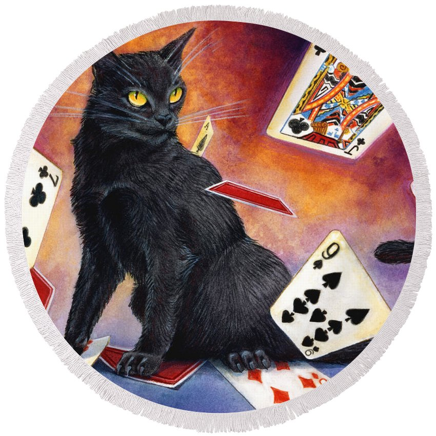 Cat Round Beach Towel featuring the painting Mischief Kitten by Melissa A Benson