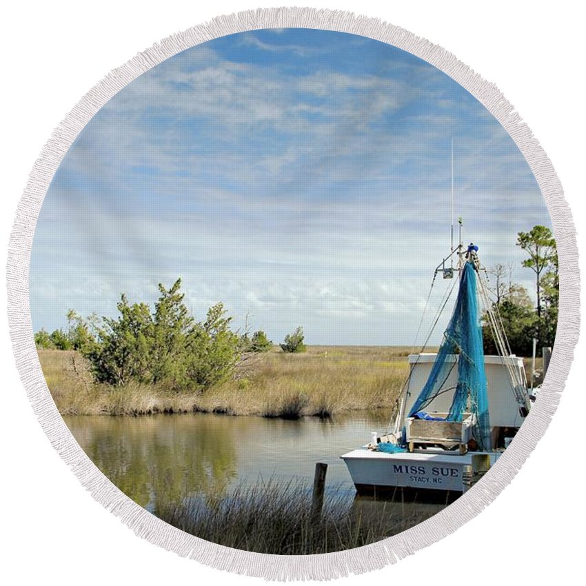 Shrimp Boat Round Beach Towel featuring the photograph Miss Sue Two by Benanne Stiens