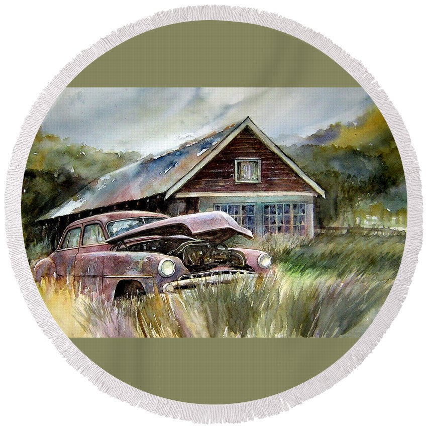 Car House Round Beach Towel featuring the painting Miss Wilson's House by Ron Morrison