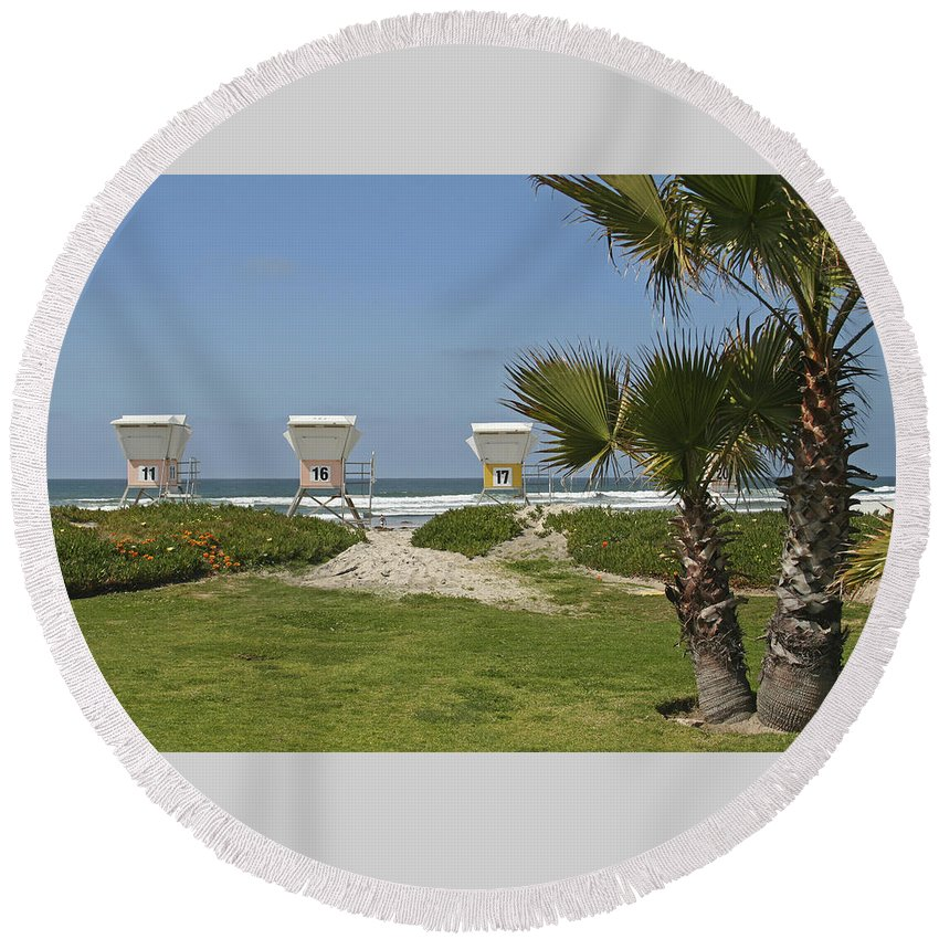 Beach Round Beach Towel featuring the photograph Mission Beach Shelters by Margie Wildblood