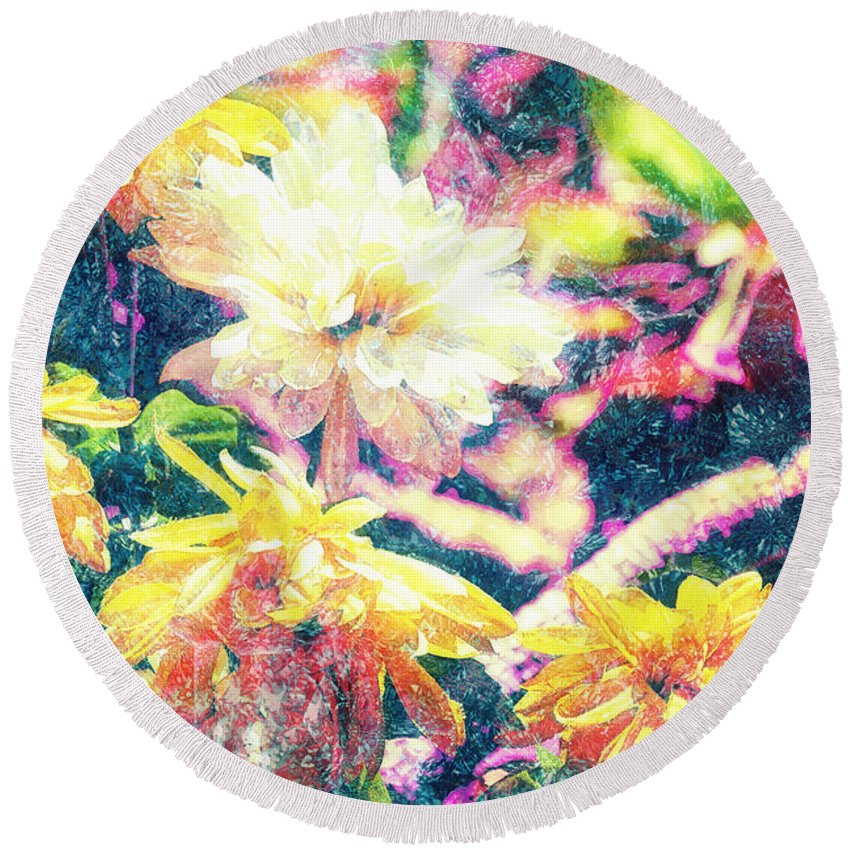 Colorful Round Beach Towel featuring the photograph Mission Plants by Davy Cheng
