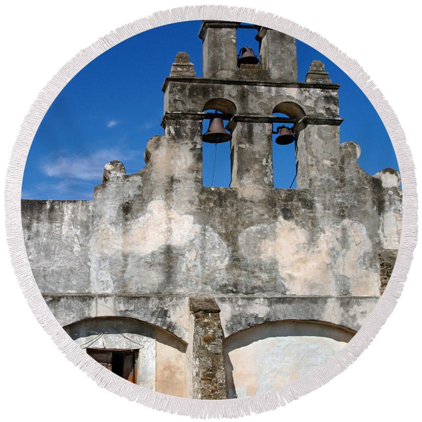 Architecture Round Beach Towel featuring the photograph Mission San Jaun Capistrano by Jill Battaglia