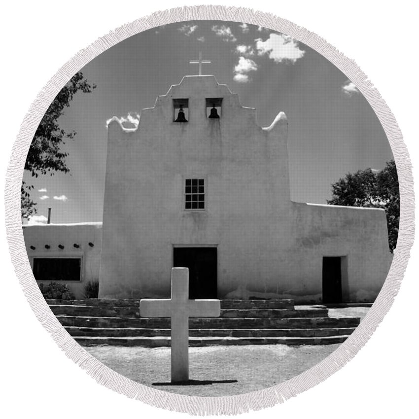 Mission San Jose Round Beach Towel featuring the photograph Mission San Jose by David Lee Thompson