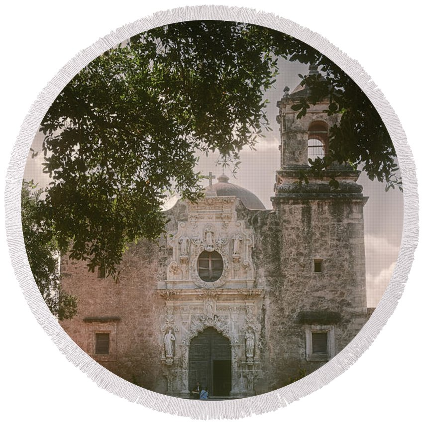Joan Carroll Round Beach Towel featuring the photograph Mission San Jose In San Antonio by Joan Carroll