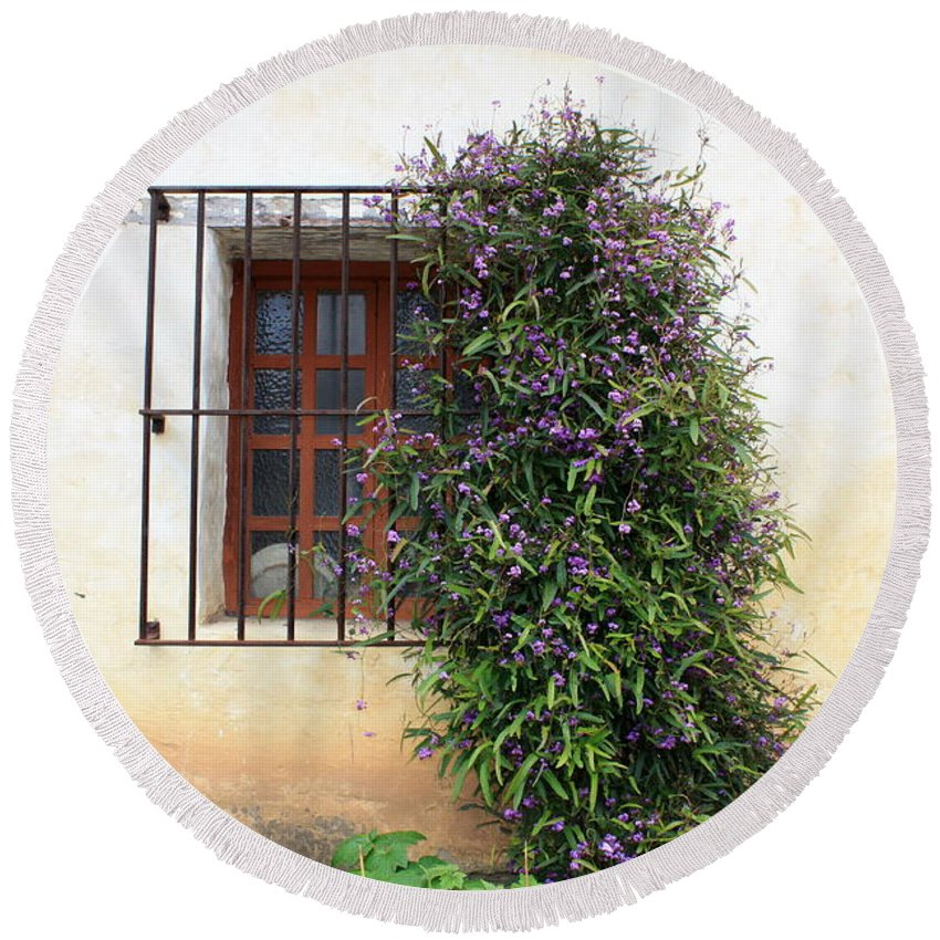 Purple Flowers Round Beach Towel featuring the photograph Mission Window With Purple Flowers by Carol Groenen