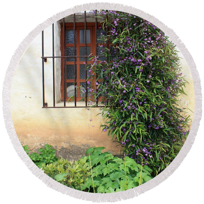 Mission Round Beach Towel featuring the photograph Mission Window With Purple Flowers Vertical by Carol Groenen