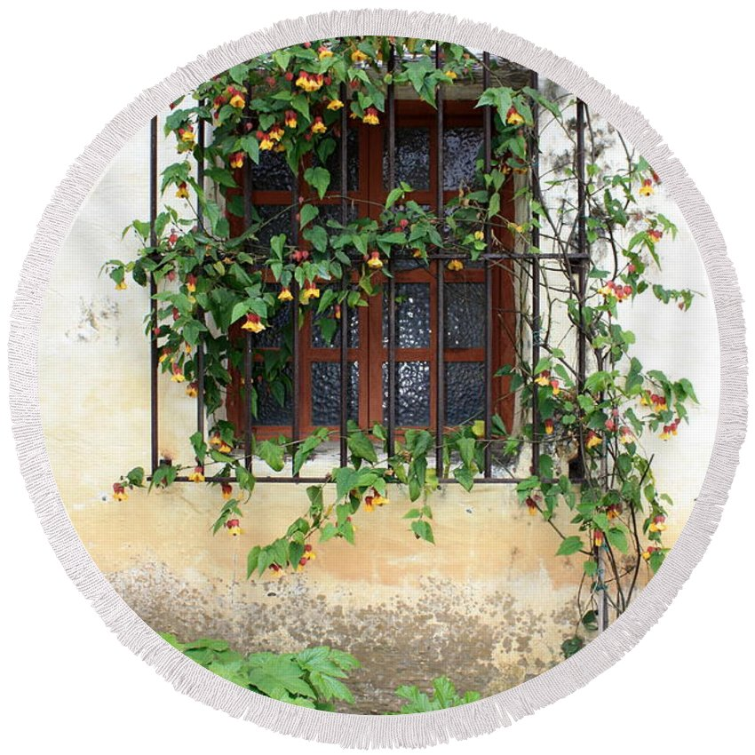 Mission Window Round Beach Towel featuring the photograph Mission Window With Yellow Flowers Vertical by Carol Groenen