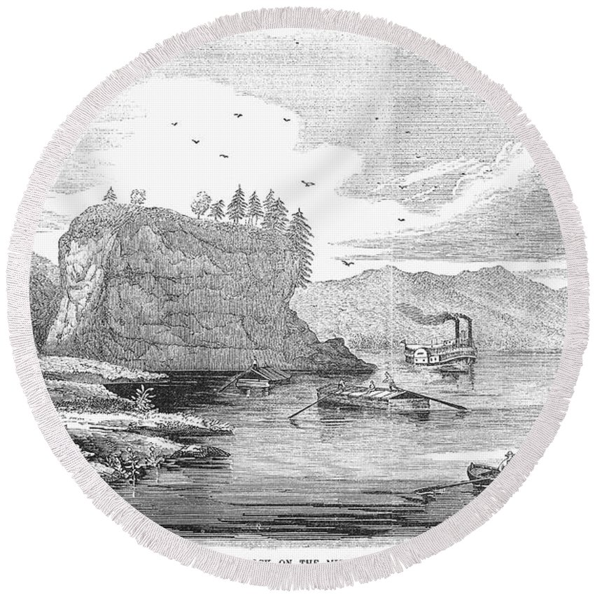 1854 Round Beach Towel featuring the photograph Mississippi River, 1854 by Granger