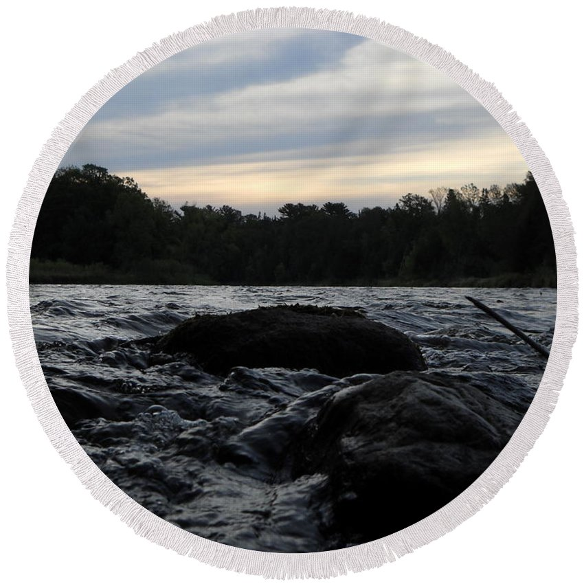 Mississippi River Round Beach Towel featuring the photograph Mississippi River Dawn Sky by Kent Lorentzen