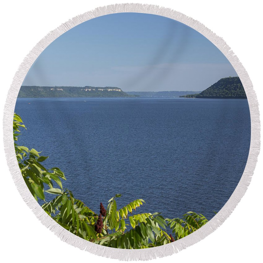 River Round Beach Towel featuring the photograph Mississippi River Lake Pepin 2 by John Brueske