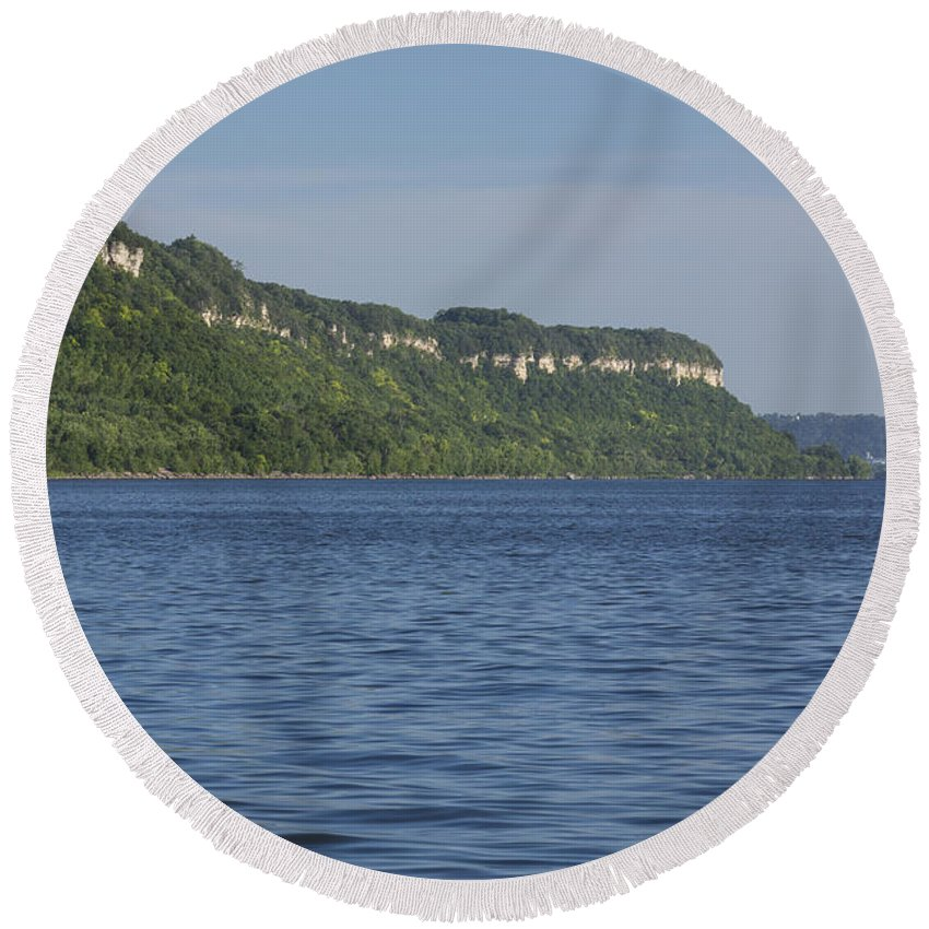 River Round Beach Towel featuring the photograph Mississippi River Lake Pepin 4 by John Brueske