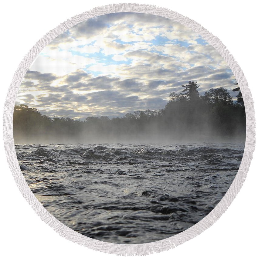 Mississippi River Round Beach Towel featuring the photograph Mississippi River Mist Over Rushing Water by Kent Lorentzen