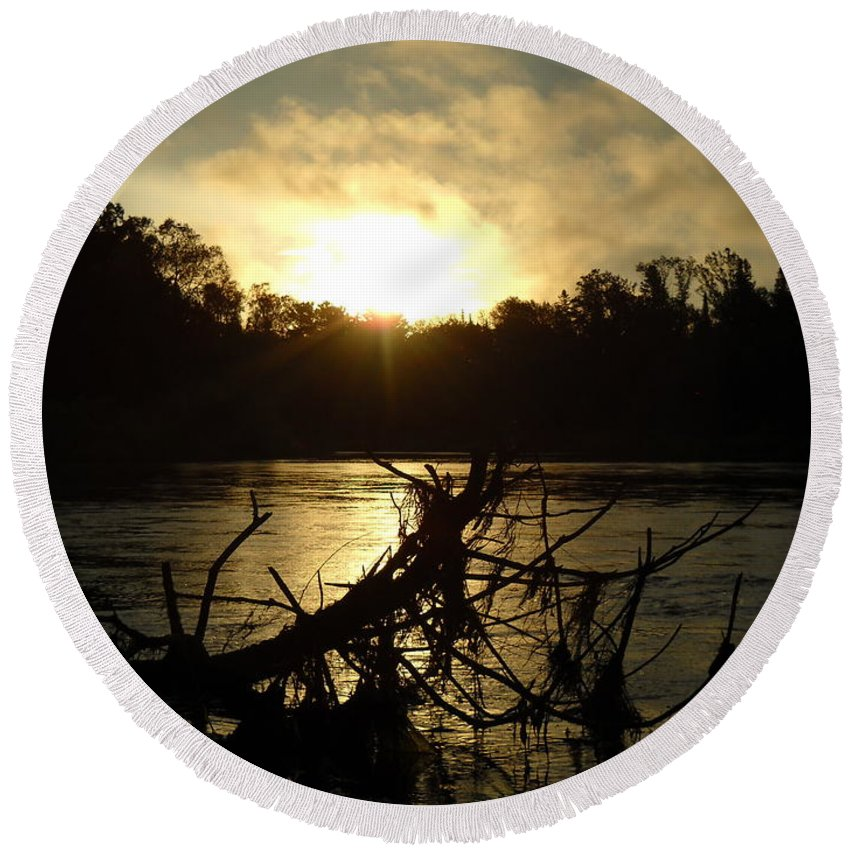 Mississippi River Round Beach Towel featuring the photograph Mississippi River Sunrise Tree Roots by Kent Lorentzen