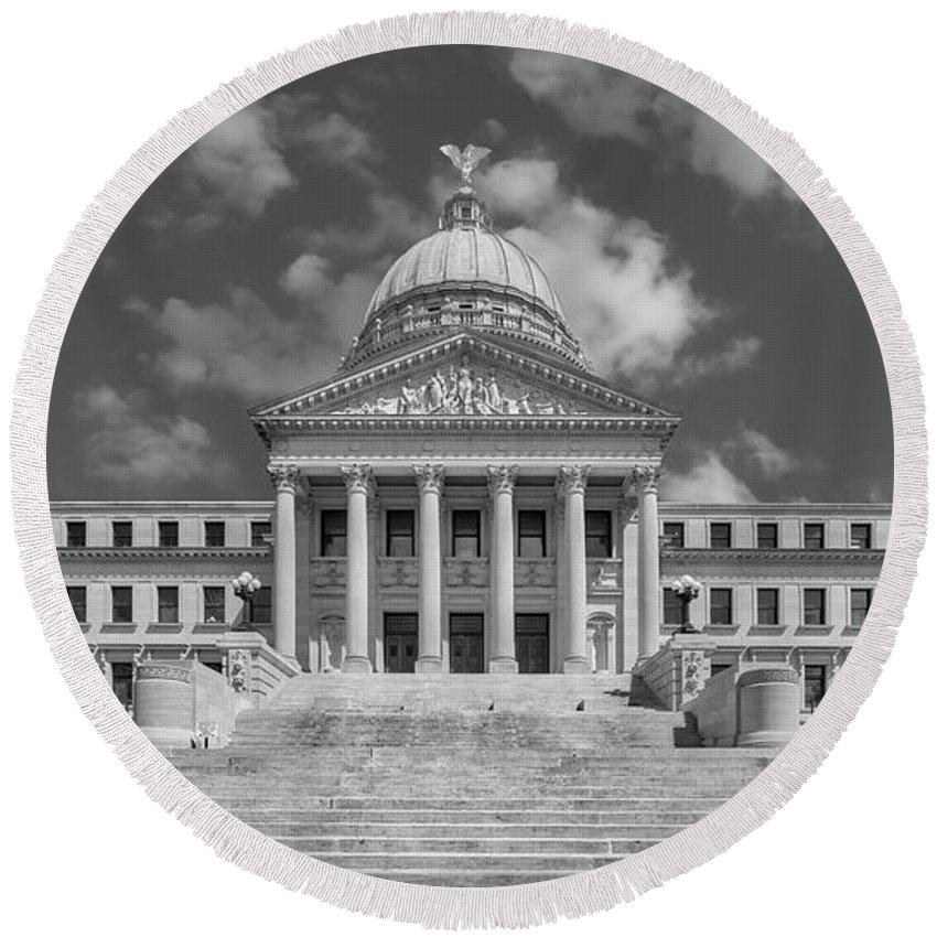 Architectural Round Beach Towel featuring the photograph Mississippi State Capitol Bw by Jerry Fornarotto