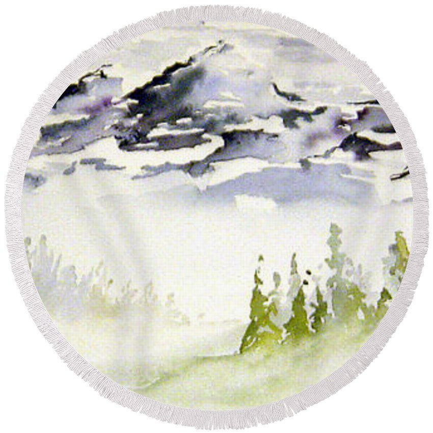 Rock Mountain Range Alberta Canada Round Beach Towel featuring the painting Mist In The Mountains by Joanne Smoley