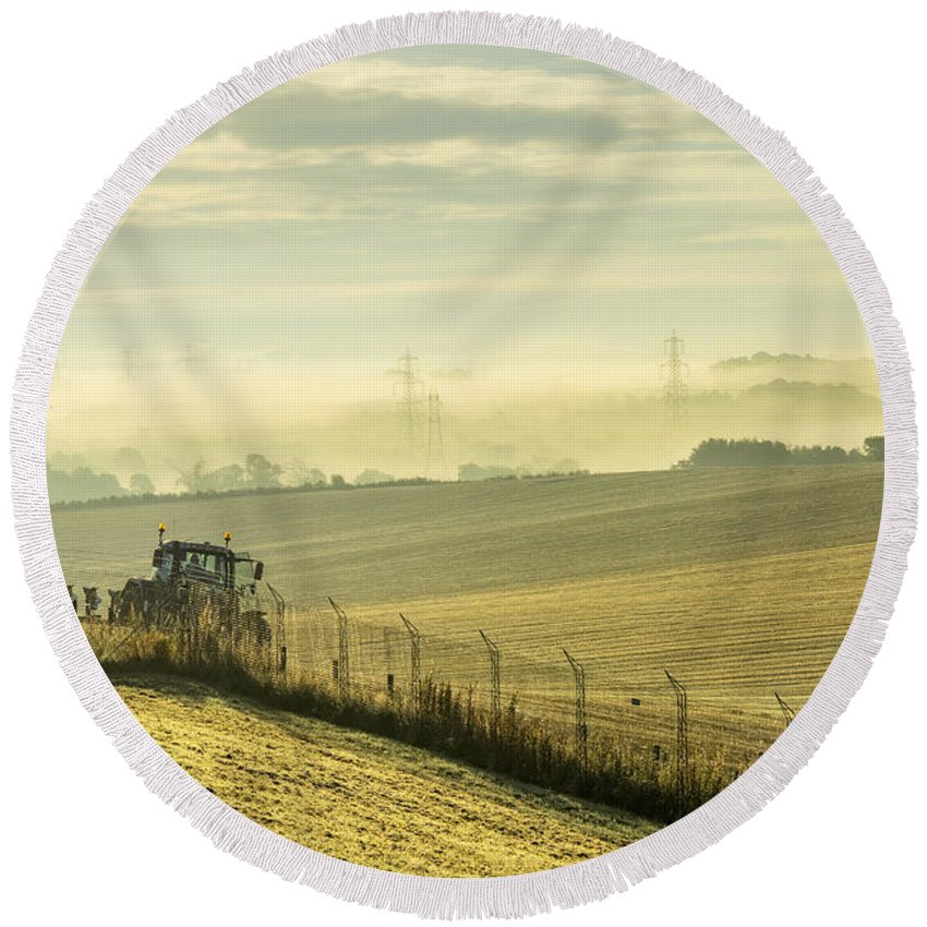 Sony Round Beach Towel featuring the photograph Mist Over Clackmannan by Jeremy Lavender Photography