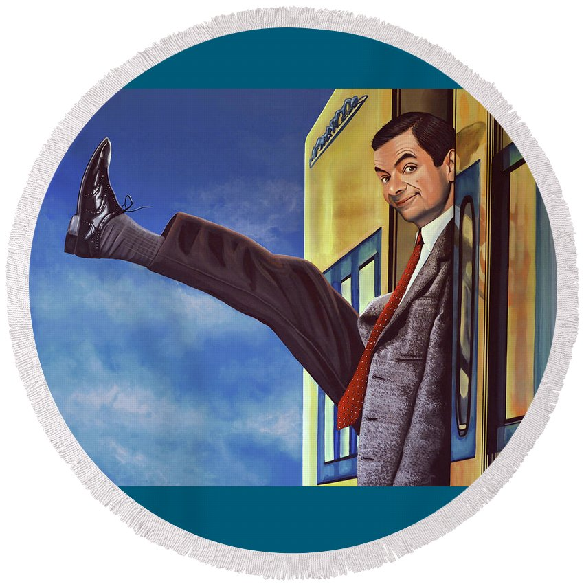 Mister Bean Round Beach Towel featuring the painting Mister Bean by Paul Meijering