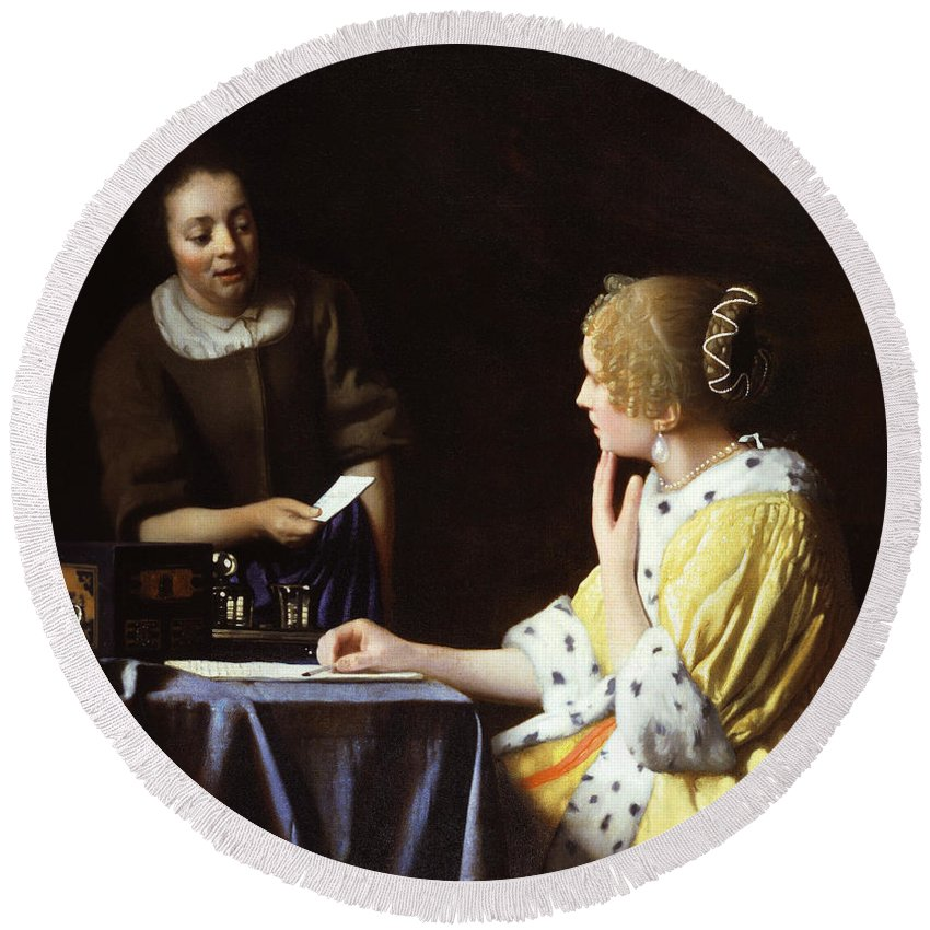 Jan Vermeer Round Beach Towel featuring the painting Mistress And Maid by Jan Vermeer