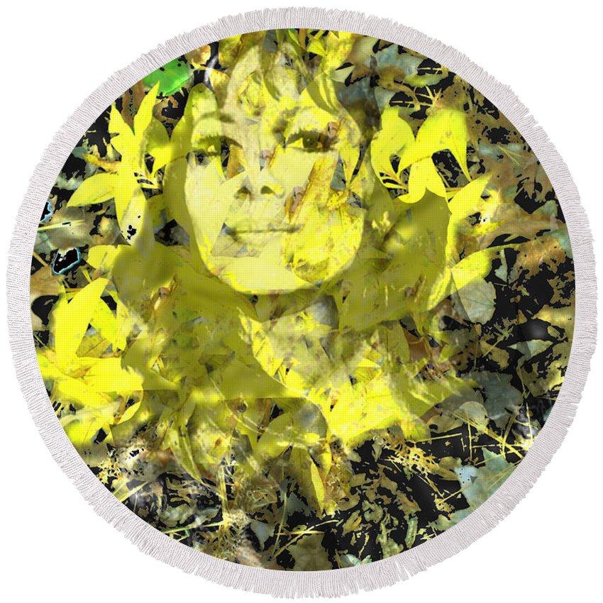 Mistress Of Autumn Round Beach Towel featuring the digital art Mistress of Autumn by Seth Weaver