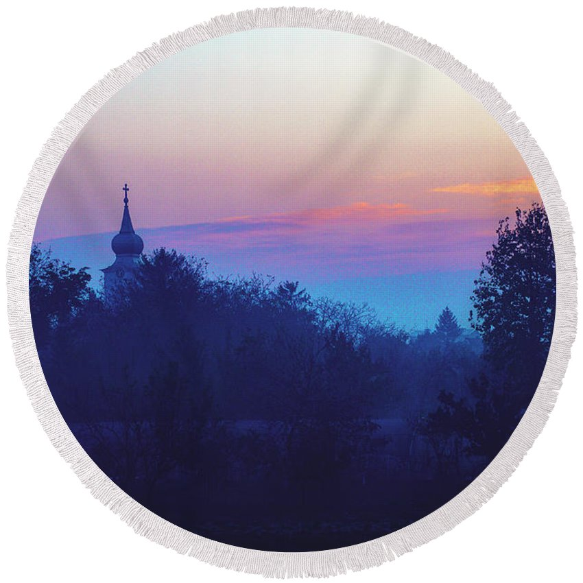 Abbey Round Beach Towel featuring the photograph Misty And Vibrant Winter Dawn Over Serbian Countryside by Srdjan Kirtic