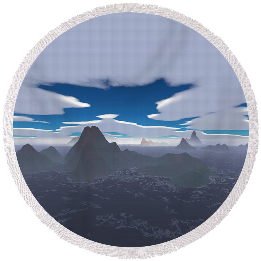 Aerial Round Beach Towel featuring the digital art Misty Archipelago by Gaspar Avila