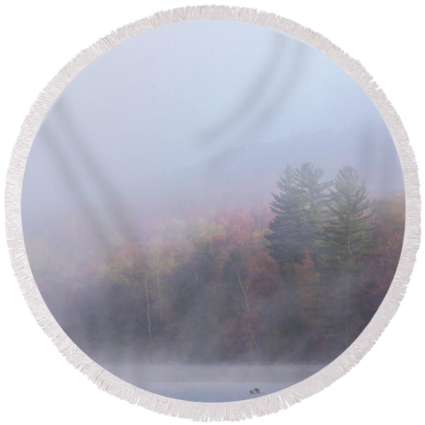 Fall Round Beach Towel featuring the photograph Misty Autumn Morn by Darla Bruno