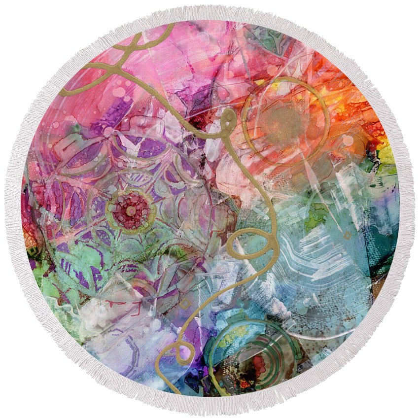 Alcohol Ink Round Beach Towel featuring the painting Misty Awakening by Vicki Baun Barry