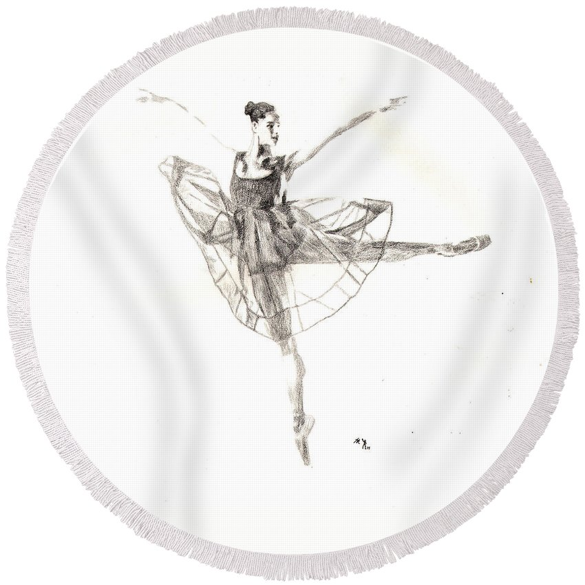 Dancer Round Beach Towel featuring the drawing Misty Ballerina Dancer IIi by Lee McCormick