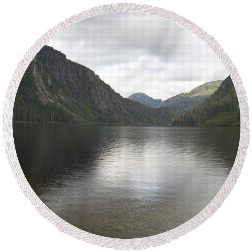 Alaska Round Beach Towel featuring the photograph Misty Fjord 3 by Michael Peychich