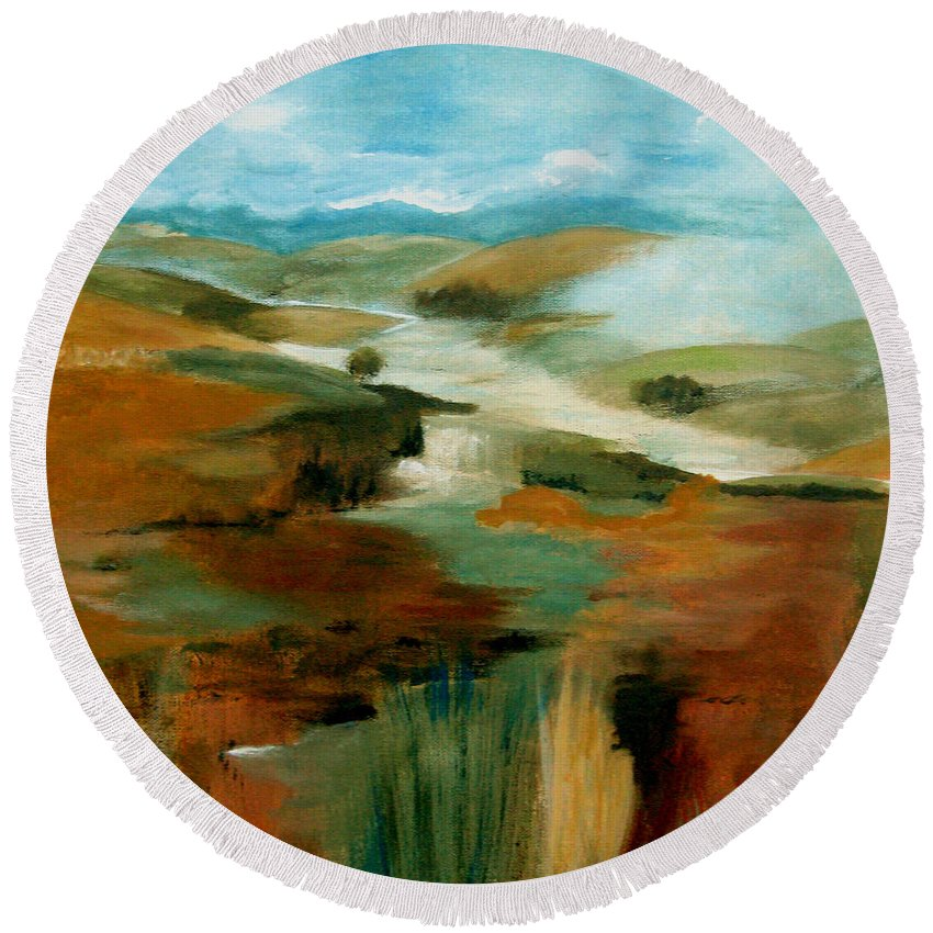 Abstract Round Beach Towel featuring the painting Misty Hills by Ruth Palmer