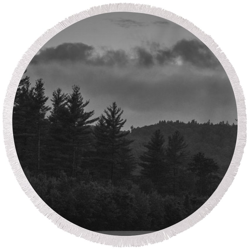 Moon Round Beach Towel featuring the photograph Misty Maine Woods Black And White 2 by Marina McLain