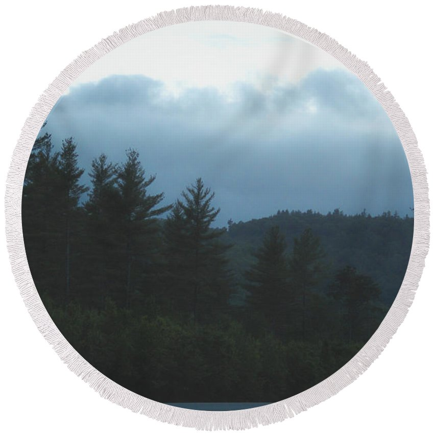 Moon Round Beach Towel featuring the photograph Misty Maine Woods by Marina McLain