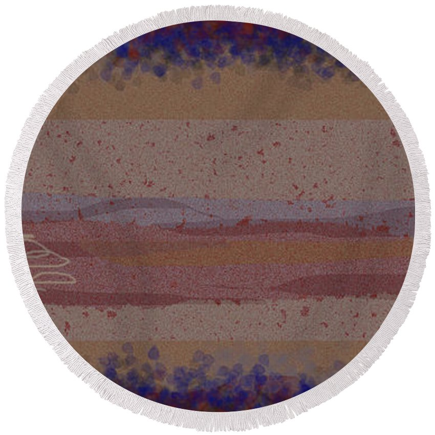 Abstract Round Beach Towel featuring the painting Misty Moisty Landscape Abstraction by Anne Cameron Cutri