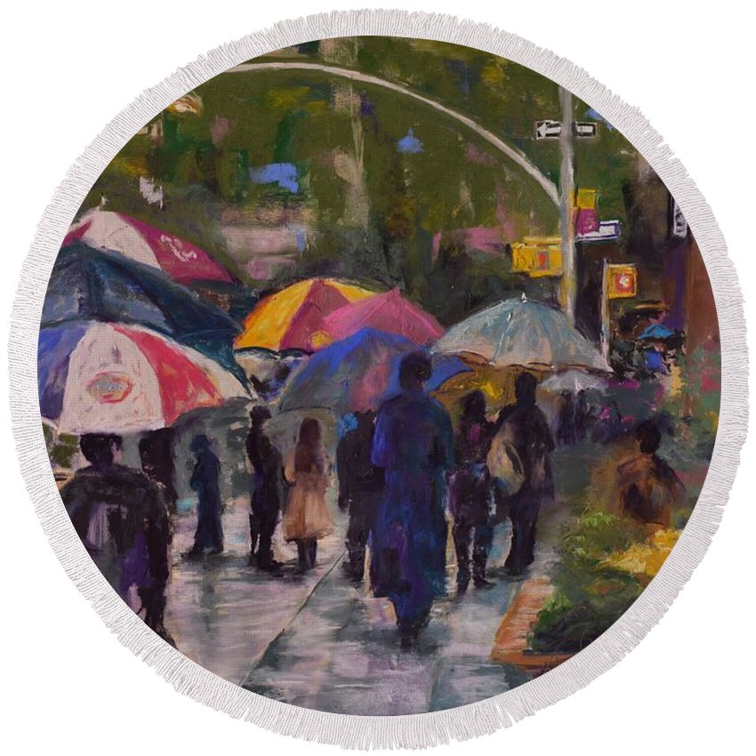 City Round Beach Towel featuring the painting Misty Monday Morning by Barbara Wolf