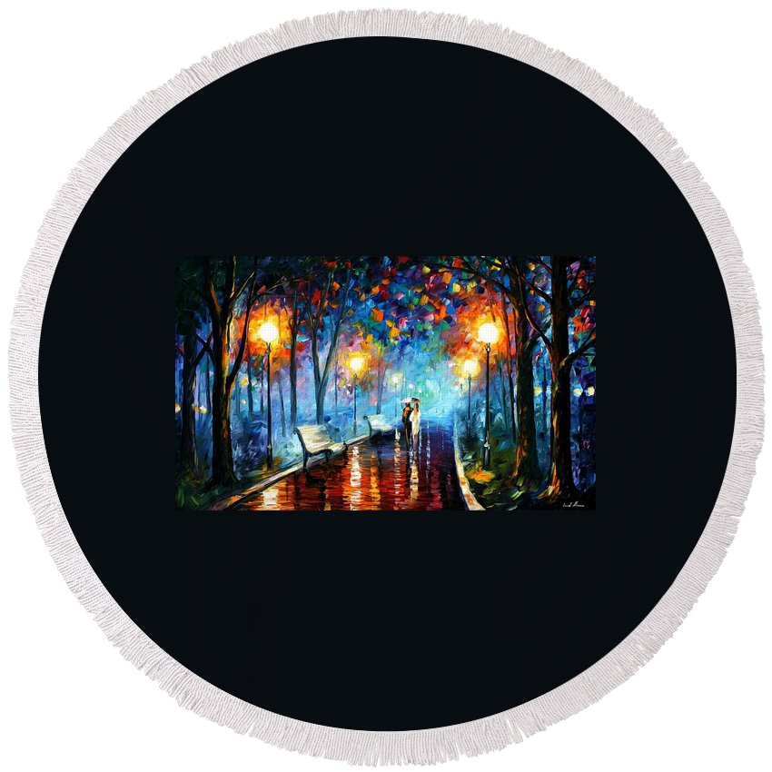 Afremov Round Beach Towel featuring the painting Misty Mood by Leonid Afremov