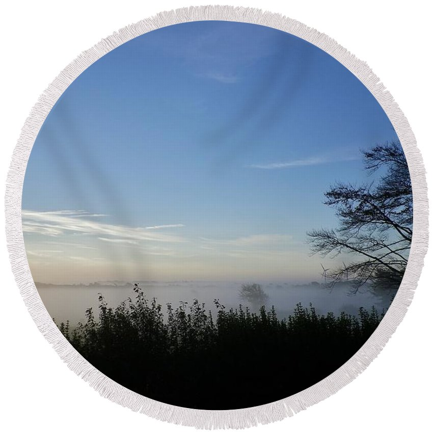 Mist Round Beach Towel featuring the photograph Misty Morn by Richard Brookes