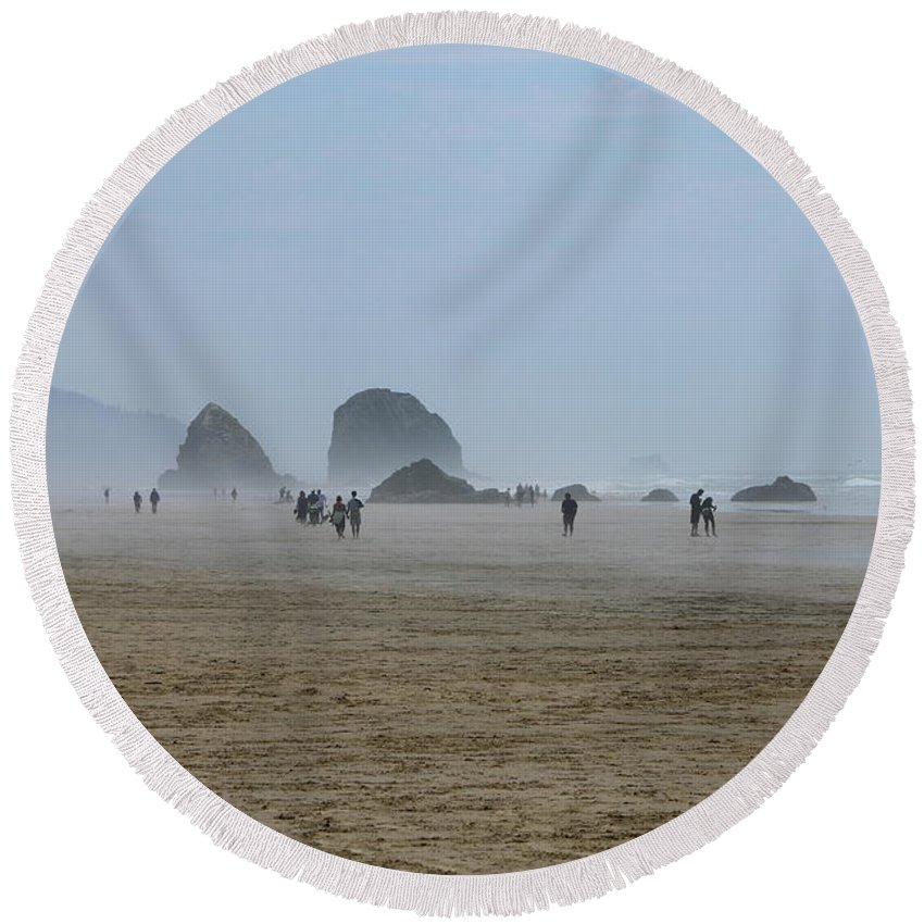 Oregon Round Beach Towel featuring the photograph Misty Morning At Cannon Beach by Christiane Schulze Art And Photography