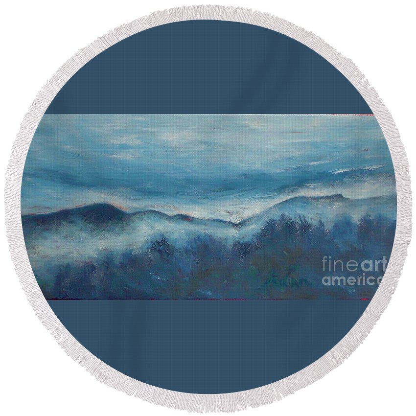 Mount Mansfield Round Beach Towel featuring the painting Misty Morning Fog Mount Mansfield Panorama Painting by Felipe Adan Lerma